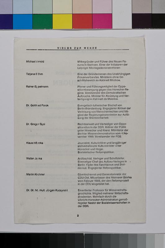 gedrucktes Informationsblatt, mit Biografien von neun Interviewten